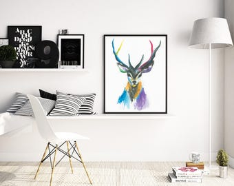 Framed Stag Watercolour Print