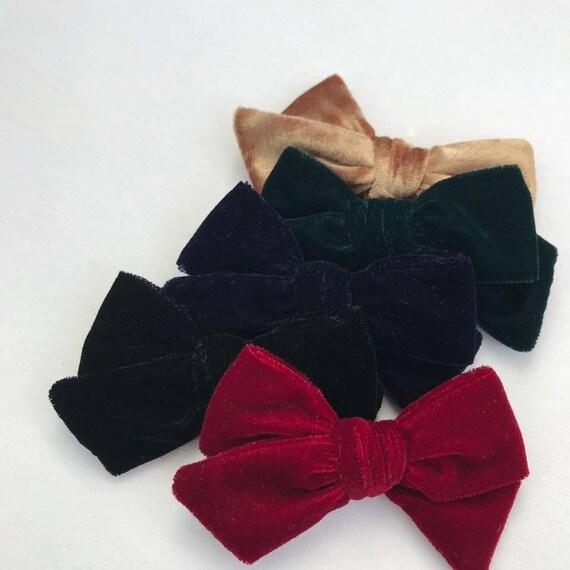 Dandelion>> hand-tied velvet velour bows | Christmas hair bows | classic hair bows | winter hair bows | luxury hair bows | nylon headbands