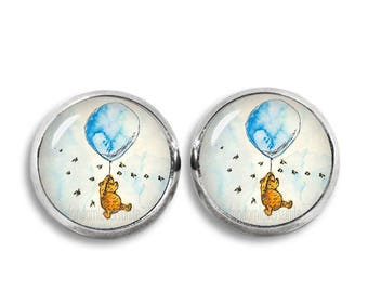 Winnie the Pooh Stud Earrings Winnie Balloon Earrings Classic Winnie the Pooh Jewelry