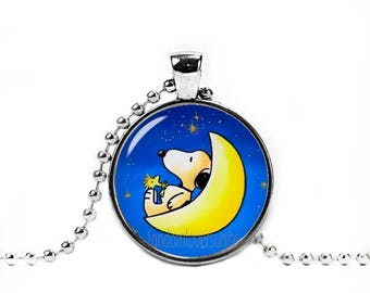 Snoopy Necklace Snoopy and Woodstock on the Moon Pendant Snoopy Peanuts Fandom Jewelry Cosplay Fangirl Fanboy