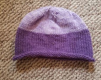 Purple Knit Womens Beanie