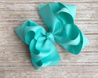 Double stacked hair bows, double layer hair bows, blue double stacked hair bows, girls hair bows, 5 inch hair bows,blue hair bows, aqua bows