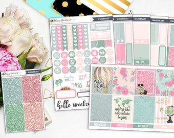 Wanderlust Full Weekly Planner Sticker Kit | for use with Erin Condren Lifeplanner™, Filofax, Personal, A5, Happy Planner