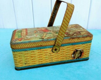 Vintage French biscuit tin, picnic box, storage pot.
