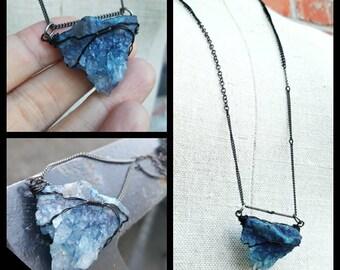 Gunmetal and Raw Blue quartz druzy crystal pendant necklace - Sky Blue and Black