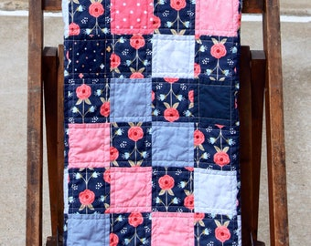 Baby girl quilt/blanket in navy, coral, and grays