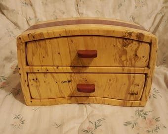Bandsaw box made from spalted holly, purple heart and pine