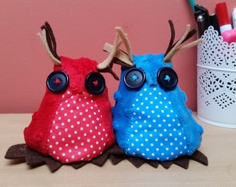 Two Cute Handmade plush Owls pick your colours  Christmas owl decoration