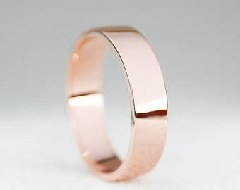 5mm Width Wedding Band Ring-9ct/14ct/18ct Rose Gold Flat Profile Wedding Band-Gold Men's Wedding Band Ring-5mm Men's Ring-Handmade to Order