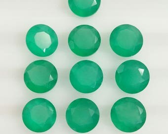 Green onyx  Faceted 6.8mm Round 10 pieces lot code no. 2
