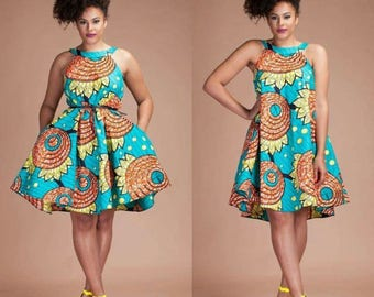 Ankara Halter Neck Two-Way Swing Dress