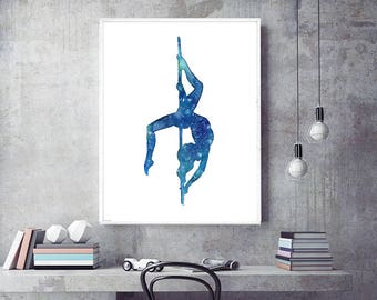 "Download and print your Pole Dance poster. ""Pole dance Underwater"" watercolor printable art. Size: 11.69x16.53 inches. High resolution. Jpeg"