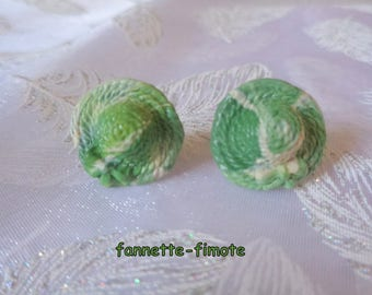 """Stainless steel stud earrings polymer clay Green Khaki and Beige """"hats"""" - handmade"""
