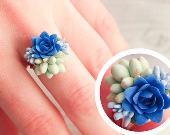 Succulents ring, Ring with succulents, succulent, blue ring, cactus, plants, jewelry with succulents, blue flowers