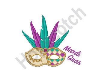 Mardi Gras Mask - Machine Embroidery Design - 4 X 4 Hoop, Celebration, New Orleans, Parade