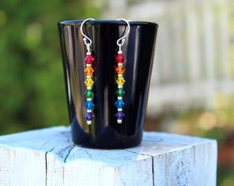 Rainbow Earrings - Gay Pride - Pride Jewelry - Sterling Silver - Swarovski Crystals - Dangle Earrings