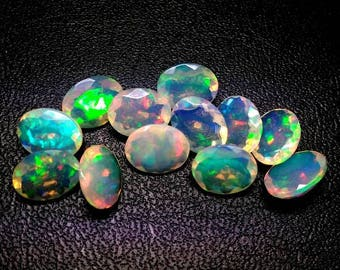 5 Piece 6x8mm Ethiopian Opal Faceted Oval Loose Gemstone - Ethiopian Opal Oval Faceted, Multi Fire Opals Calibrated Size Opals Faceted Oval