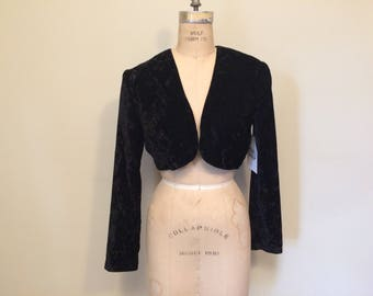 90's Crushed Velvet Black Cropped Bolero Size Medium | Made in the USA