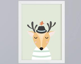 Deer with bird and hat - unframed art print