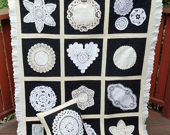 Handmade Vintage Doily Lap Quilt/Unique Lap Quilt/Wheelchair Quilt/Sofa Throw Quilt