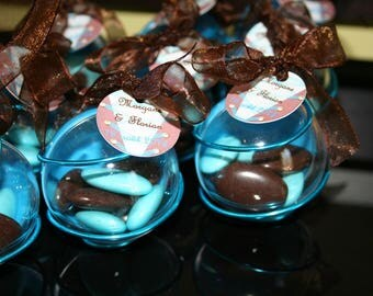 Ball Turquoise Brown perspex box