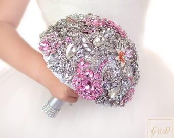 Wedding Bouquet Bridal Bouquet Brooch Bouquet Wedding Dress Jewelry Bouquet Crystal Bouquet Alternative Bouquet Pink Bouquet Wedding Ring