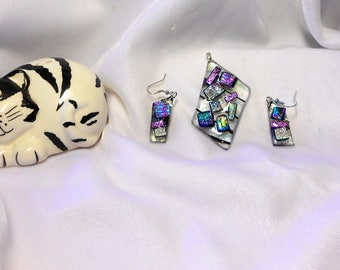 Dichroic Glass Earring and Pendent Set