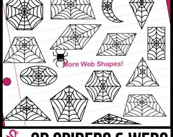 2D Shapes: Spiderwebs and Tiny Spiders Clipart