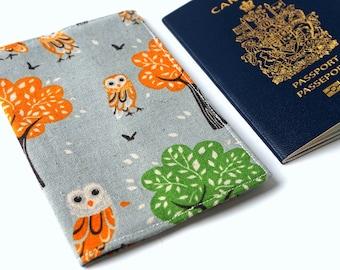 Tree OWL Autumn Fall Travel Passport Cover, Passport Holder, Passport Case, Passport Protector, Fabric Cover, Passport, Wanderlust, Gift