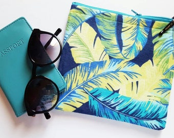 Tropical Palm Leaf Hawaiian Makeup Bag