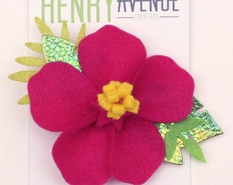 Pink Felt Hibiscus Flower - Tropical Felt Flower