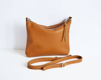 LEATHER CROSSBODY BAG Mini Camel Leather Hobo Women Leather Handbag Beige Hobo Cross Body Bag Soft Leather Bag Leather Purse - Napoli Bag -