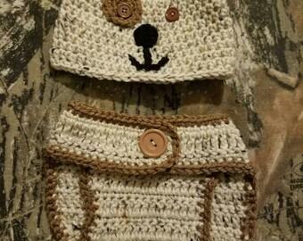 Newborn puppy hat and diaper cover, Photo prop