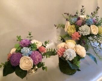 sola wood floral arrsngement, sola wood flower arrangement, sola wood arrangement, sola wood flowers, small sola wood centerpiece, sola wood