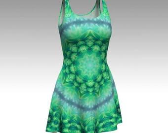 Green Dress, Flower Dress, Festival Dress, Flower Fairy, Fairy Dress, Gypsy Dress, Sacred Geometry, Flare, Skater, Bodycon, Fitted, Sheath