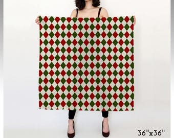 Argyle Scarf, Diamond Scarf, Patterned Scarf, Xmas Scarf, Christmas Scarf, Red, Green, White, Square Scarf, Long Scarf, Chiffon, Satin, Gift