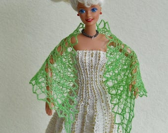 hand knit, hand dyed green lacy shawl for 11 1/2 inch fashion doll