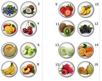 Fresh fruit magnets or fresh fruit pins - Create your own set, refrigerator magnets, fridge magnets, office magnets