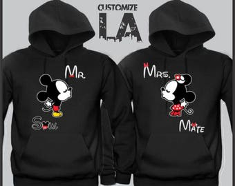 Personalize Mickey and Minnie mouse matching hoodies  Disney soul mate couple funny hoodies. Matching MR and MRS  sweater,mickey Kissing