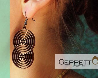 "Wood earrings ""Infinity"". Wooden earrings in stock."