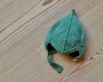 Hand Knit Baby Pixie Hat | Sea Green