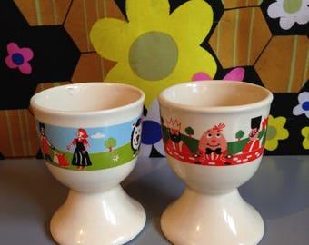 Vintage Children's Nursery Rhyme Humpty Dumpty Set of 2 Egg Cups