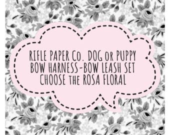 Leash Set! RIFLE PAPER CO. Rosa Floral & Bow Dog or Puppy Harness w/ Leash