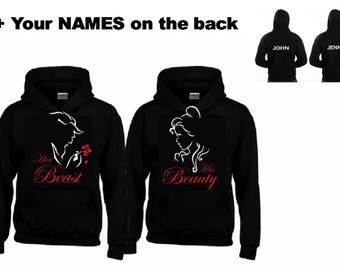 Her BEAST - His BEAUTY Hoodies + Your NAMES on the back