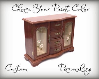 Custom Jewelry Armoire, Personalized Gift, Hand Painted, Your Color Choice, Designed For You, Pick Your Paint Color, Large Jewelry Box, OOAK