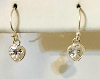 Heart Shaped Sterling Silver CZ Earrings