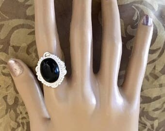 FREE SHIPPING USA Only!! Sterling Silver Black Onyx Ring