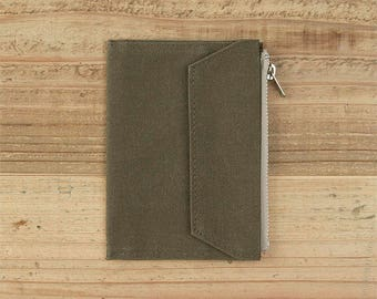 fourruof x Traveler's Factory Collaboration Zipper pocket Case Passport size Olive TRAVELER'S COMPANY Made in Japan Traveler's Notebook