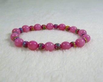 Pink and Fuchsia Stretch Bracelet, Handmade Jewelry, Disability Friendly, Glass Beads, Blue, Orange, White
