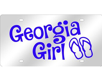Georgia Girl Flip Flops Mirrored Acrylic License Plate